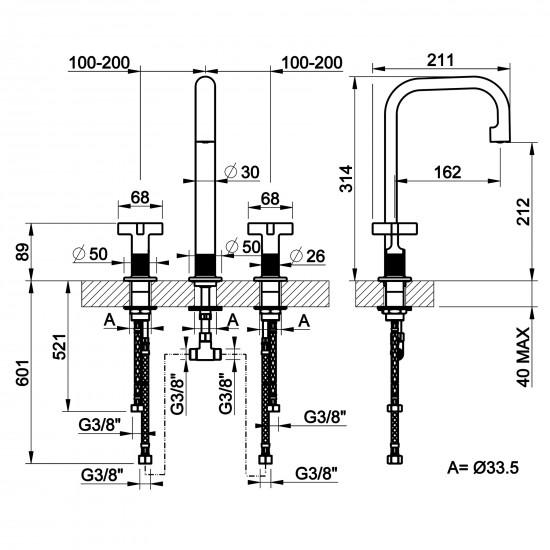 Gessi Inciso high 3 holes basin mixer