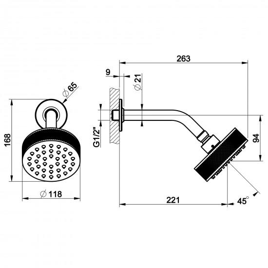 Gessi Inciso wall-mounted showerhead
