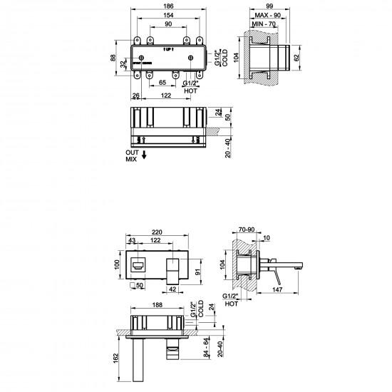 Gessi Rettangolo K wall-mounted mixer