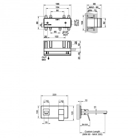 Gessi Rettangolo K wall-mounted basin mix