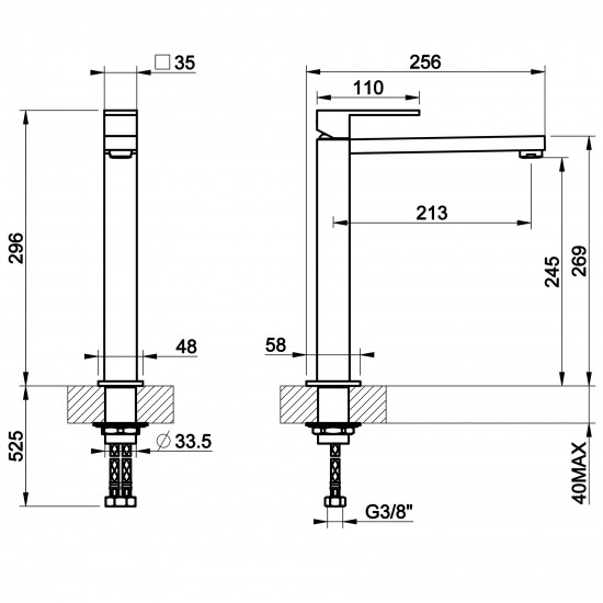 Gessi Rettangolo high basin mixer