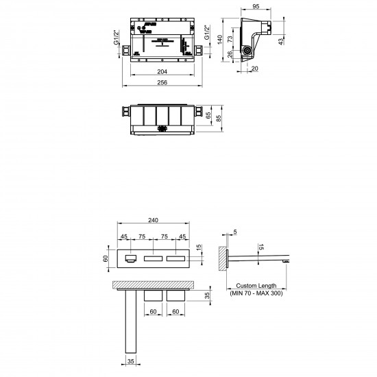 Gessi Rettangolo T wall-mounted basin group