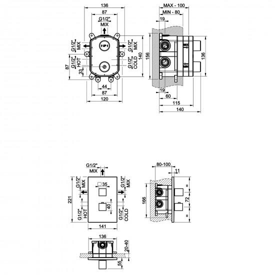 Gessi Rettangolo thermostatic shower mixer