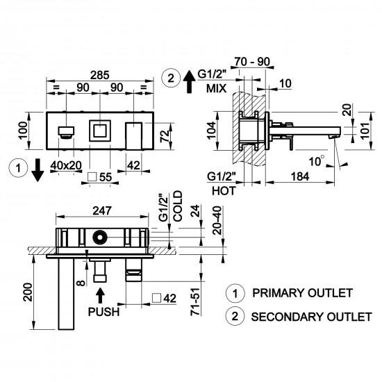 Gessi Rettangolo wall-mounted mixer