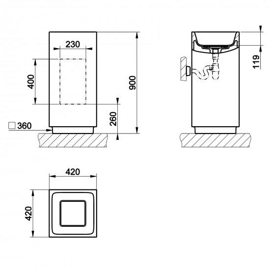 Gessi Rettangolo lavabo a pavimento