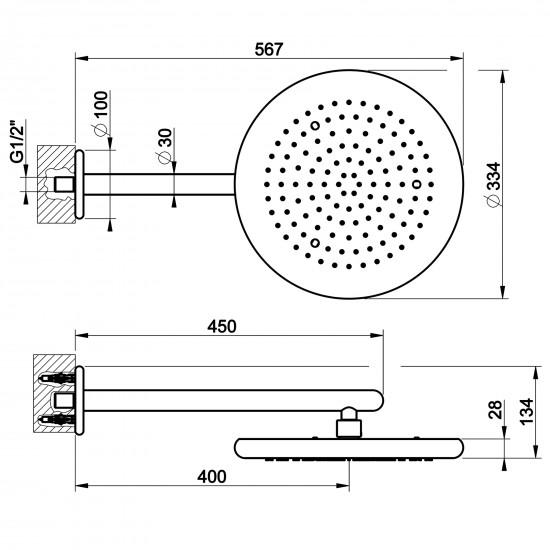 Gessi Goccia wall-mounted showerhead