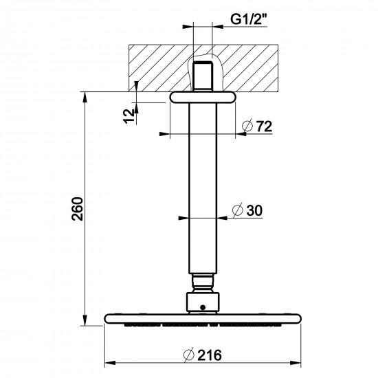 Gessi Goccia ceiling mounted showerhead