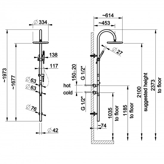 Gessi Goccia shower thermostatic mixer