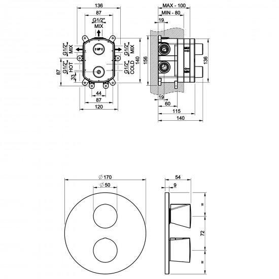 Gessi Cono shower thermostatic mixer