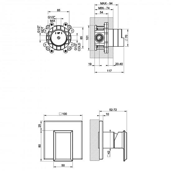 Gessi Eleganza wall-mounted mixer