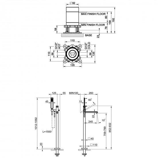 Gessi Eleganza floor-mounted bath mixer
