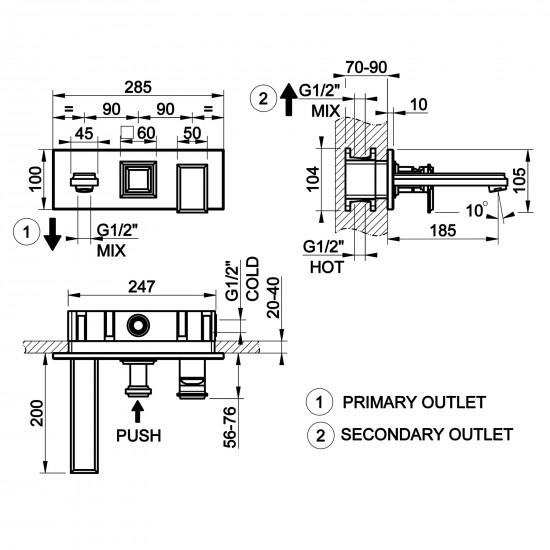 Gessi Eleganza wall-mounted bath mixer