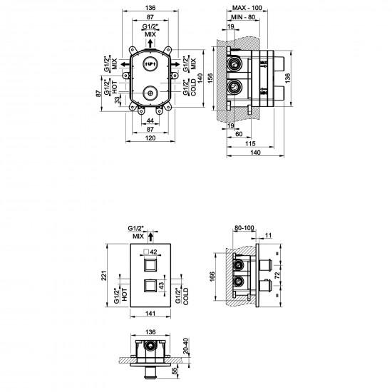 Gessi Eleganza shower thermostatic mixer