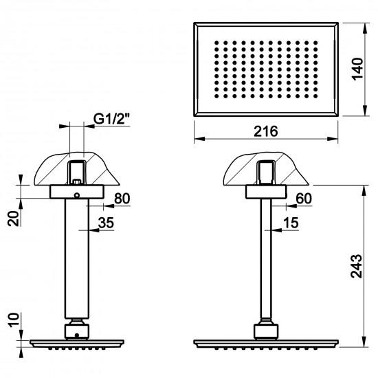 Gessi Eleganza ceiling-mounted showerhead
