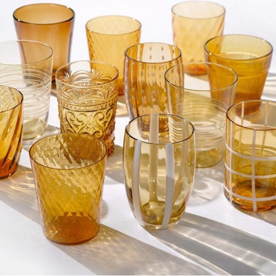 Zafferano Melting Pot Set 6 Glass Assorted Amber