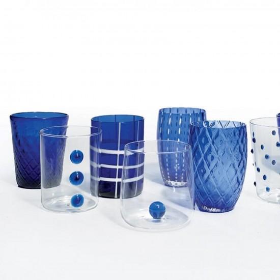 Zafferano Melting Pot Set 6 Glass Assorted Blue