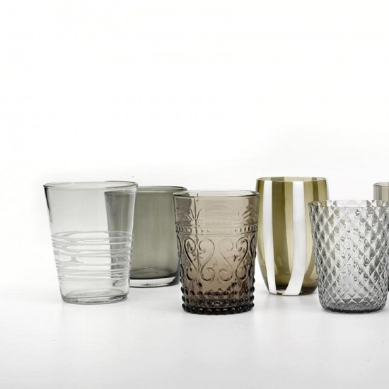 Zafferano Melting Pot Set 6 Glass Assorted Grey