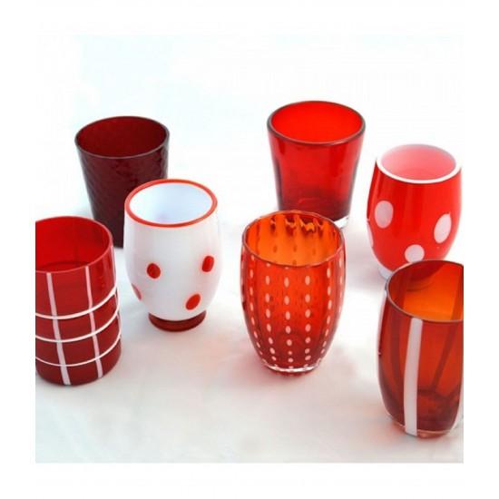 Zafferano Melting Pot Set 6 Glass Assorted Red