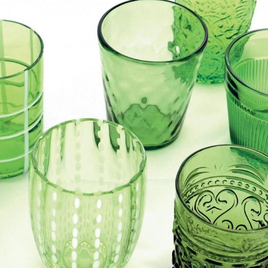 Zafferano Melting Pot Set 6 Glass Assorted Green