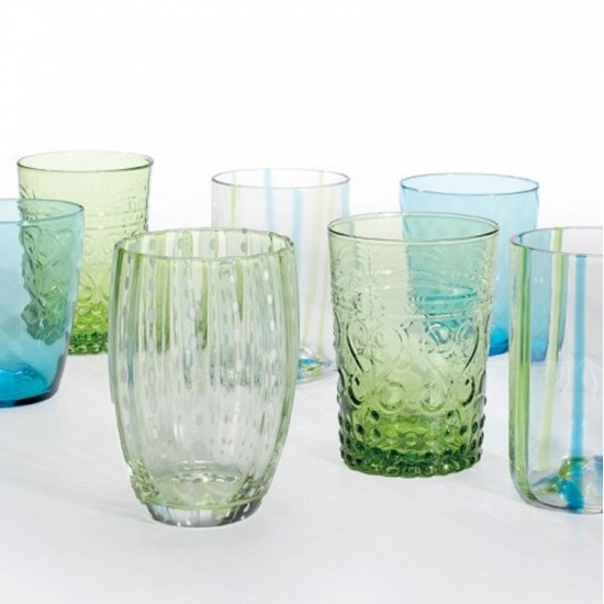 Zafferano Melting Pot Set 6 Bicchieri Acquamarina-Verde