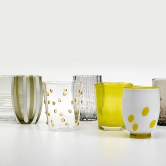 Zafferano Melting Pot Set 6 Glass Assorted Grey-Yellow