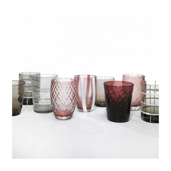 Zafferano Melting Pot Set 6 Glass Assorted Grey-Amethyst