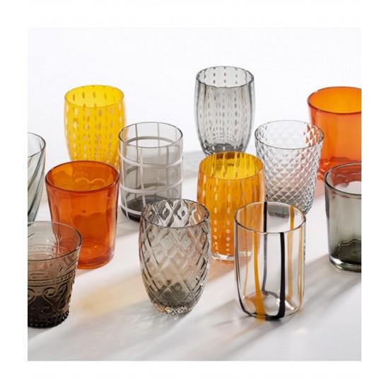 Zafferano Melting Pot Set 6 Glass Assorted Grey-Orange