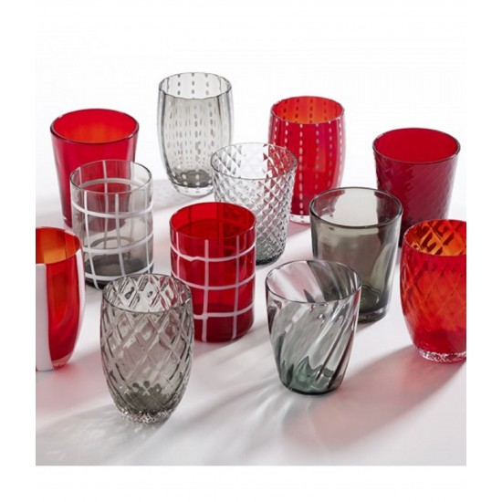 Zafferano Melting Pot Set 6 Bicchieri Grigio-Rosso