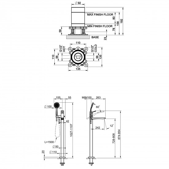 Gessi Rilievo floor mounted bath mixer