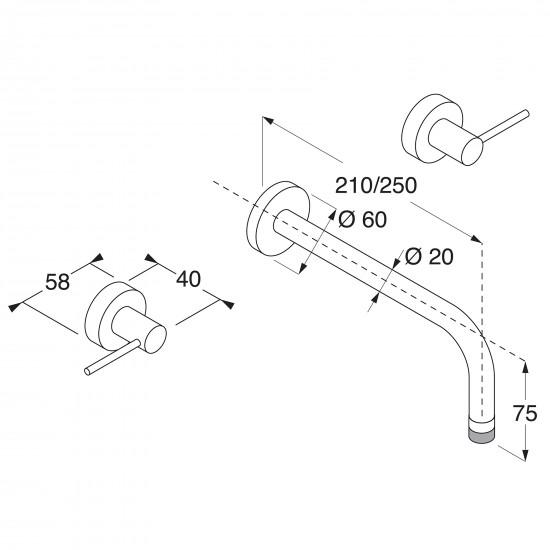 Boffi Minimal wall mounted basin mixer