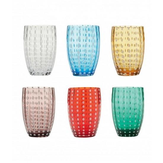 Zafferano Perle Set 6 Bicchieri Colori Assortiti