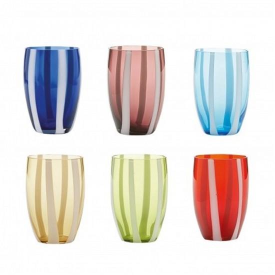 Zafferano Gessato Set 6 Bicchieri Colori Assortiti