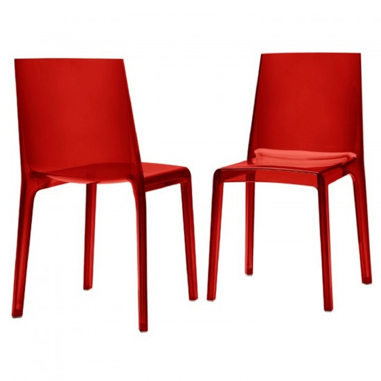 REXITE EVELINE STACKABLE CHAIR TRANSPARENT RED