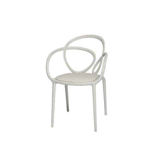 QEEBOO LOOP CHAIR WITH CUSHION WHITE