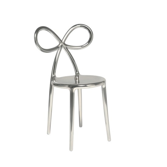 QEEBOO RIBBON CHAIR METAL FINISH SET SILVER