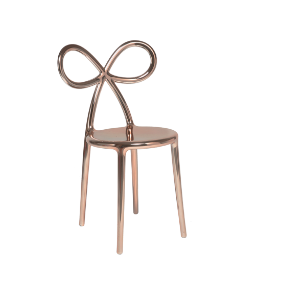 QEEBOO RIBBON CHAIR METAL FINISH SET PINK GOLD