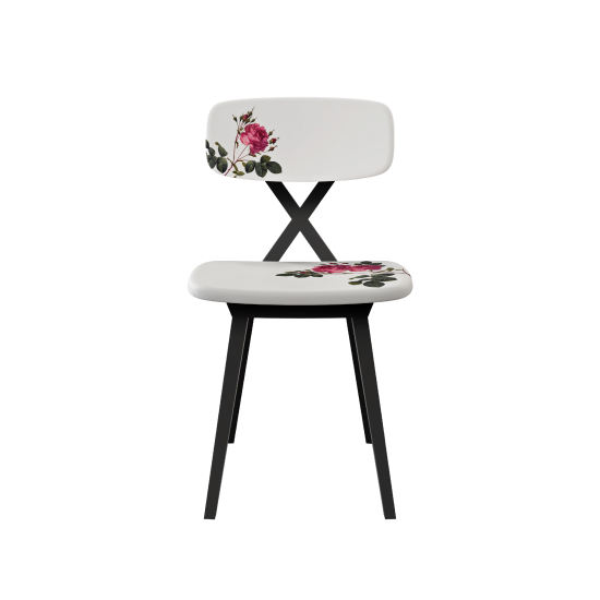 QEEBOO X CHAIR WITH FLOWER CUSHION
