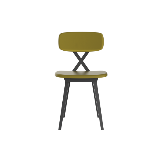 QEEBOO X CHAIR WITH CUSHION GREEN MUSTARD