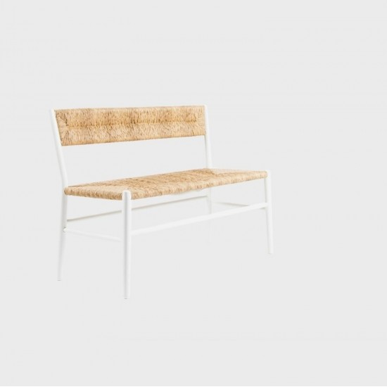 MAIORI STIPA BENCH WITH BACKREST WHITE