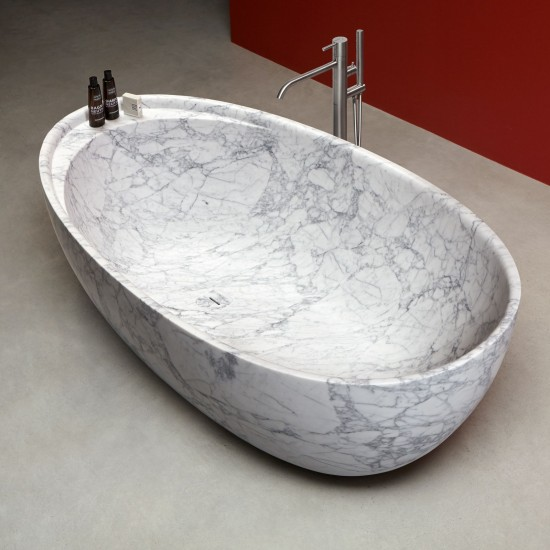 ANTONIO LUPI ECLIPSE OVAL CARRARA MARBLE BATHTUB